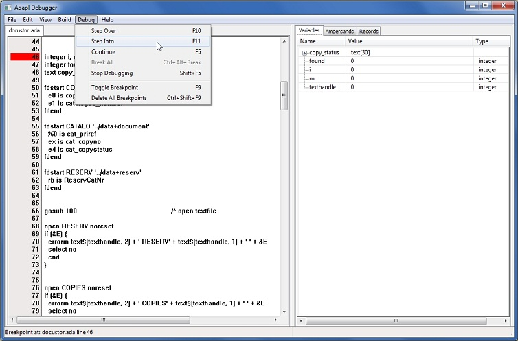 Using the ADAPL Debugger: stepping through code